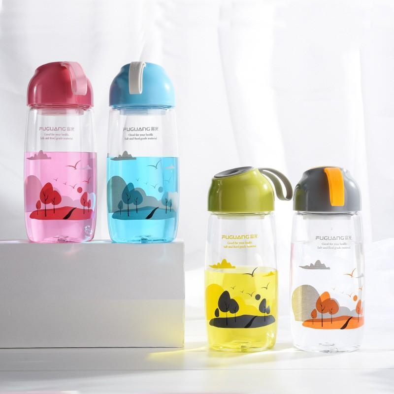 Student Wasserflaschen aus Kunststoff Student Sport außerhalb Wasser Flaschen mit Strohhalmen Jungen Mädchen Wasser Trinkgefäß 520ml