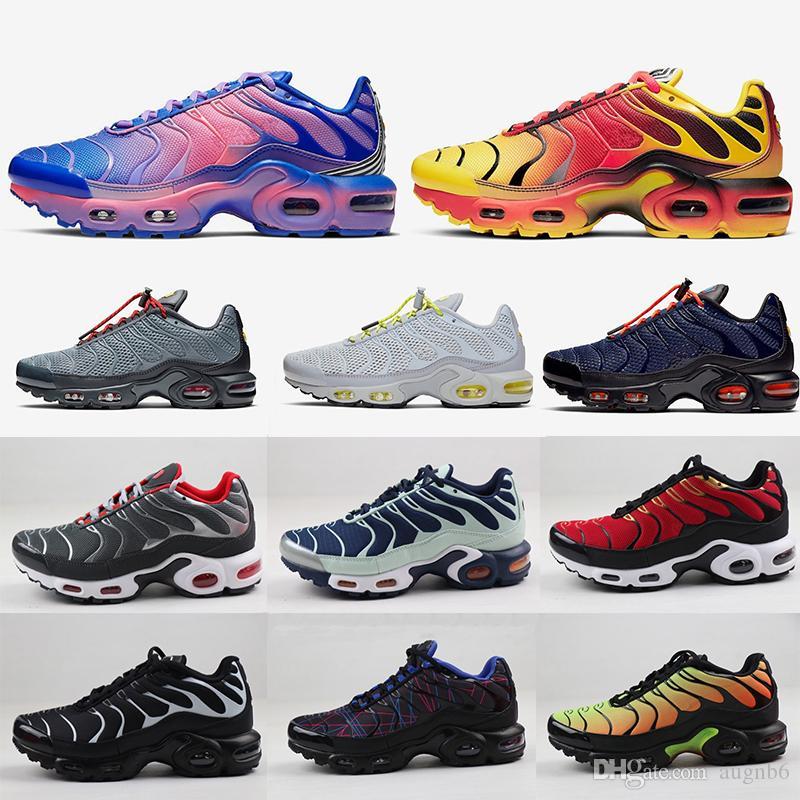 2020 Yeni TN artı koşu ayakkabıları Erkek Kadın Beyaz siyah SUNBURST Metalik Kırmızı Tunç BARELY VOLT Elektrik Yeşil spor ayakkabısı boyutu 36-46