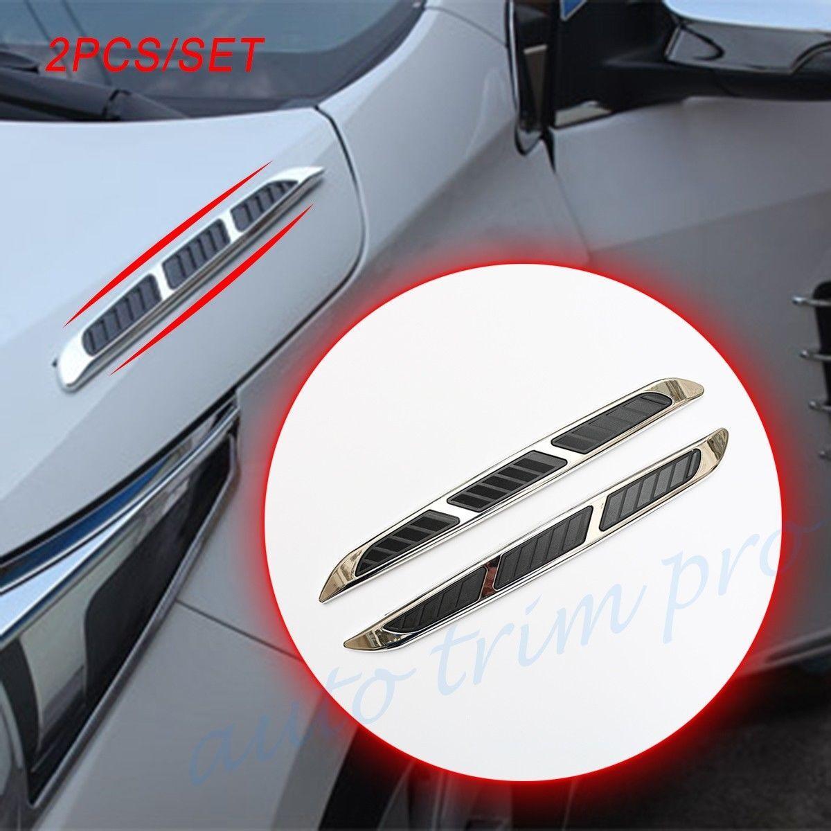 2X Chrome Auto Autocarri Auto Stampaggio Accessori Front Side corpo bordo Fender flusso Air Vent Fender Decal Sticker Cover Stripes Decoration