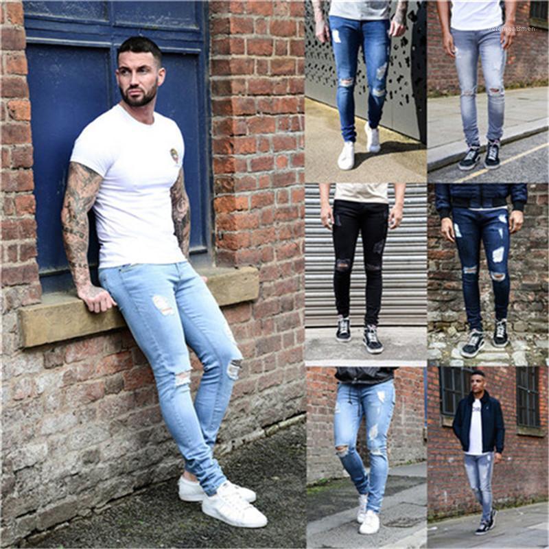 Casual Jeans lavado estilo de la calle flaco sólido de color frío lápiz de los pantalones vaqueros de hombre de la moda del diseñador del Mens Agujeros