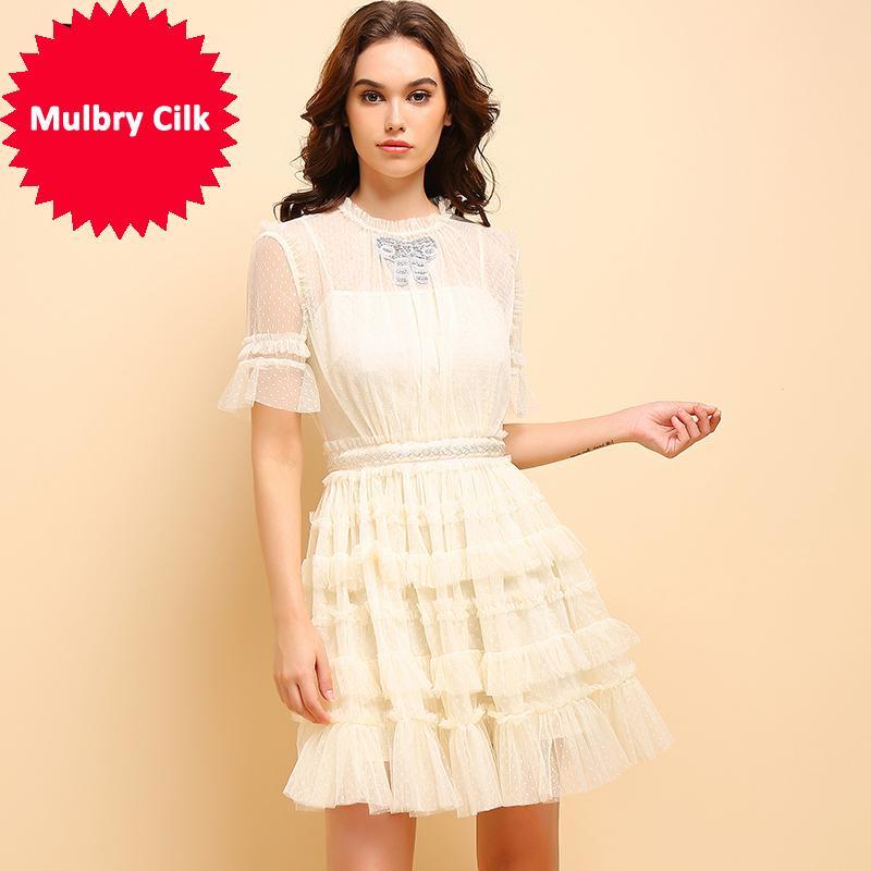 Summer Fashion Apricot-Kleid-Frauen beiläufige kurze Hülsen-Mesh-Overlay Rüschen Elegante Partei Cupcatke Kleid