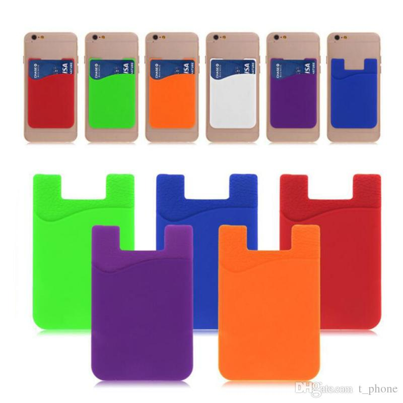 Moda Telefone Silicone Card Set Universal Magro Cartão ultra macia Cartão de bolso para iPhone X Sumsung S9 Celular Crédito Titular Livre DHL