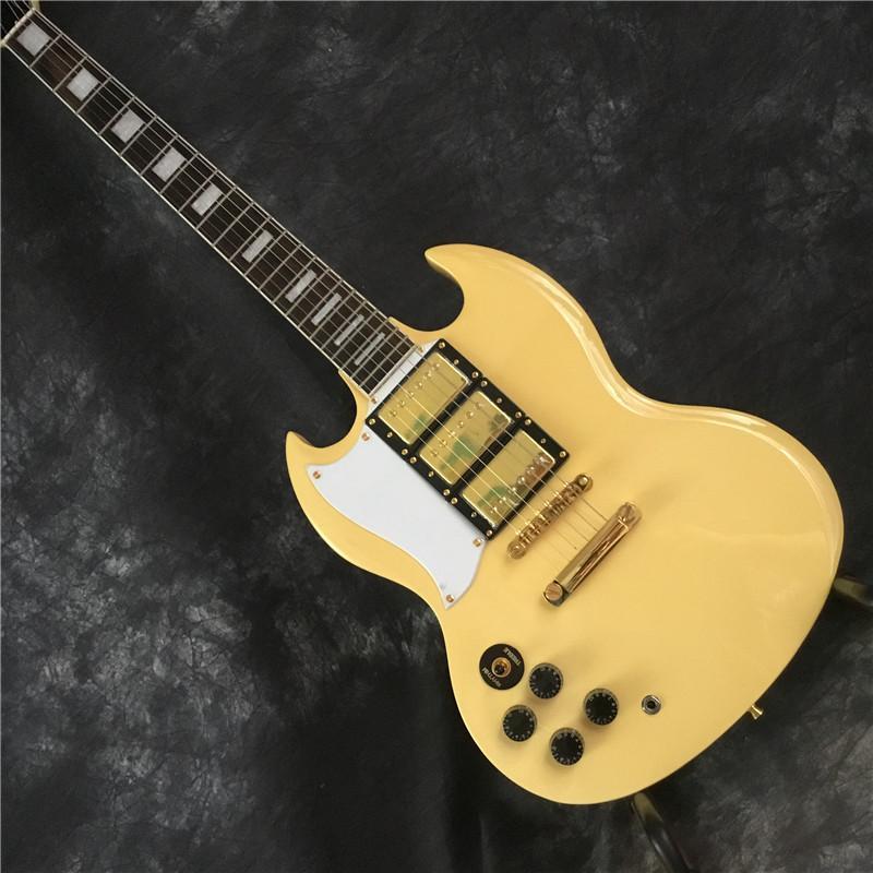 Nuovo tipo di rilascio SG mancino chitarra elettrica, giallo e oro 3 pickup, il trasporto libero