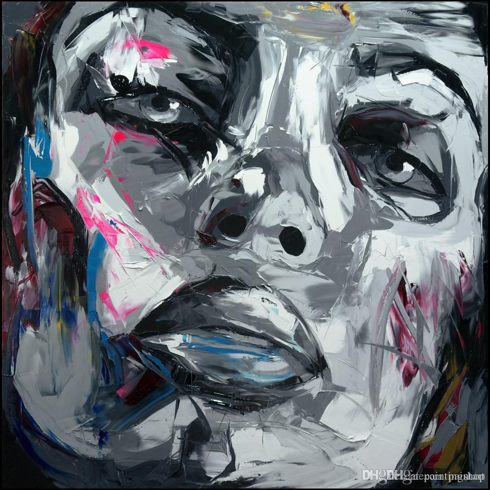 Francoise Nielly Palette Knife Impression Home Artwork Modern Portrait Handmade Oil Painting on Canvas Concave and Convex Texture Face124