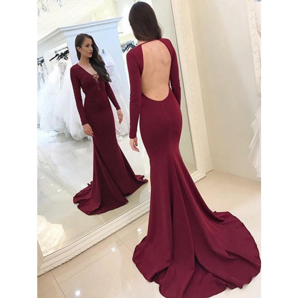 V Neck Mermaid Prom Dresses Floor Length Spandex Open Back Long Sleeves Sweep Train Evening Formal Party Dress Vestido De Fiesta