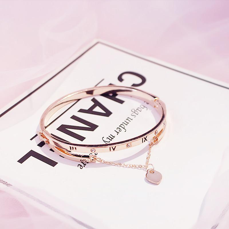 Acero inoxidable oro rosa al por mayor pulseras brazaletes Mujer corazón para siempre la pulsera del encanto del amor de la marca de joyería mujeres famosas