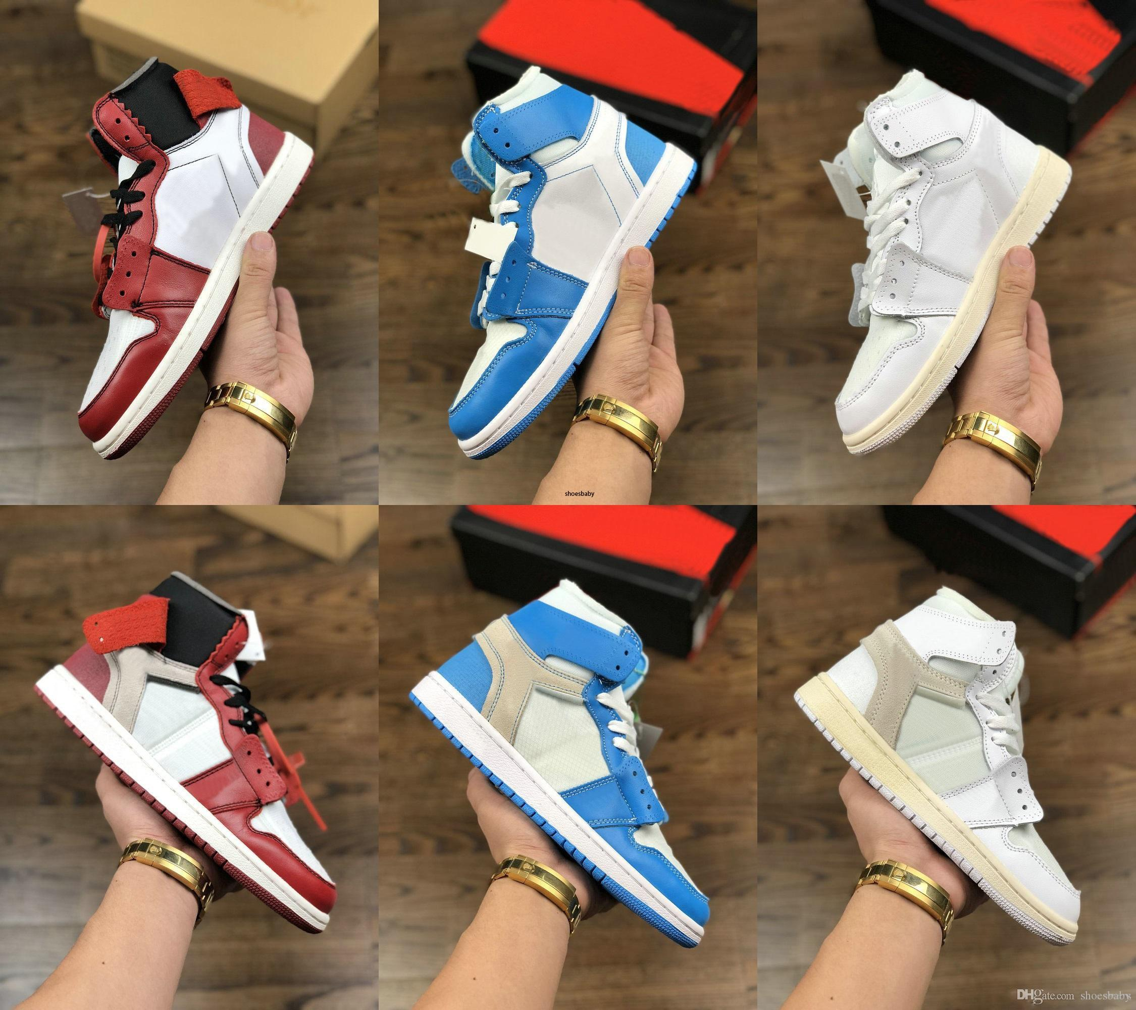 designer shoes off Mens basketball shoes 1s for Brand Sports Shoes Trainer University Blue Chicago White Sneakers SIZE 36-46 baby