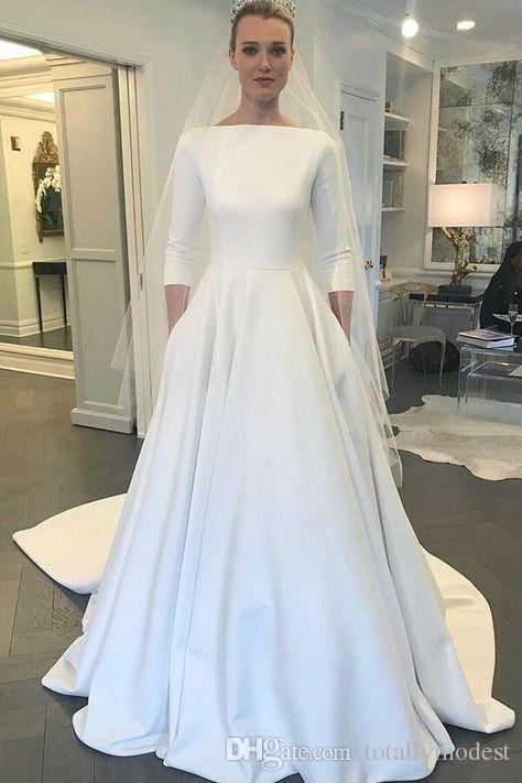 Acheter 2019 Nouvelle Arrivee A Ligne Robes De Mariee Modestes Avec Manches 3 4 Et Poches Simple Elegant Crepe Pays Mariee Moderne Robes De Mariee A