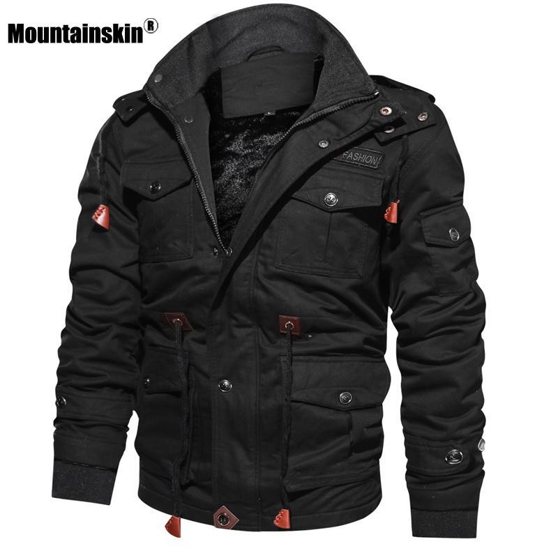 Mountainskin Vestes en polaire d'hiver d'homme chaud manteau à capuchon épais vêtement thermique Homme Veste militaire Hommes Marque Vêtements SA600 CJ191205