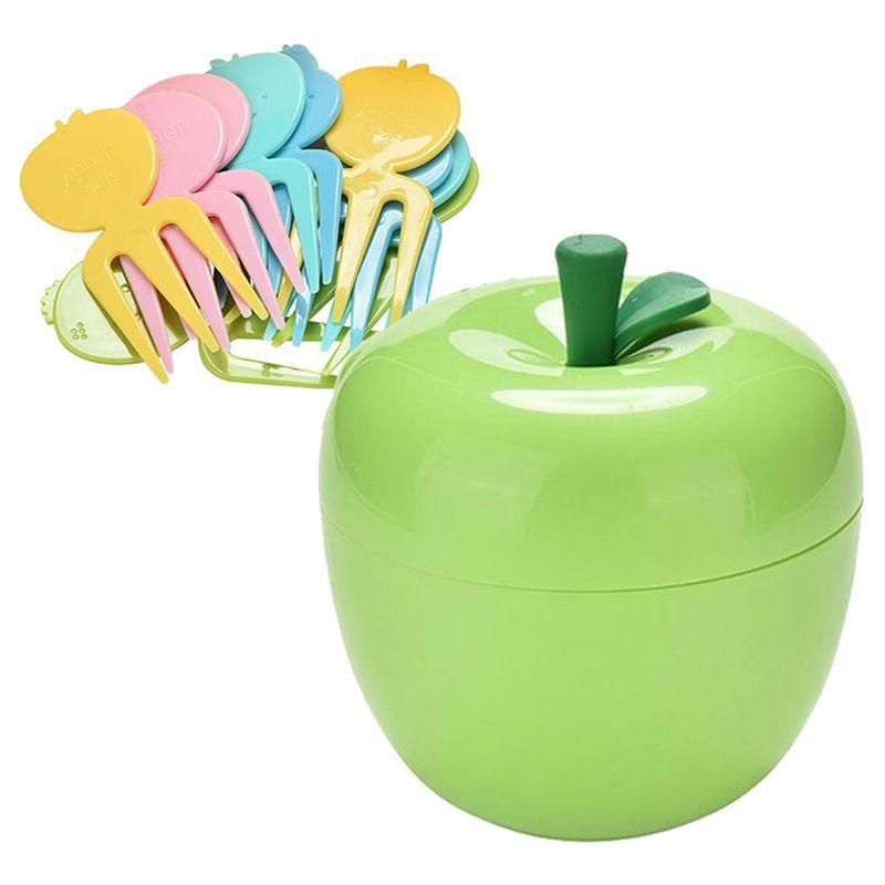 1 Set bonito ABS Fruit Cake Dessert Servindo Forks para Crianças Crianças, com uma caixa de contentores, 10 Forks