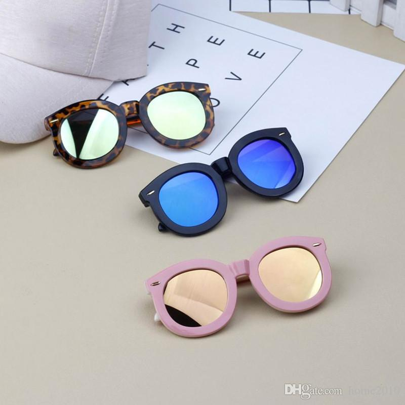 home2010 Children Sun Glasses Colorful Kids Baby Big Round Frame Sunglasses Boys Girls Eyewear Rivet Anti-Reflective Oculos UV400