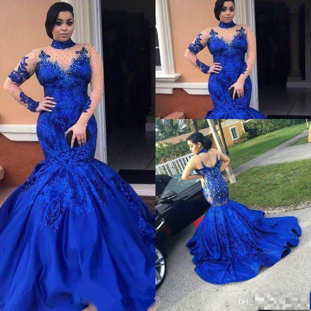 Royal Blue Mermaid Prom Dresses Plus Size African Long Formal Gowns High Neck Long Sleeve Crystal elegantes vestidos formales de noche 2019
