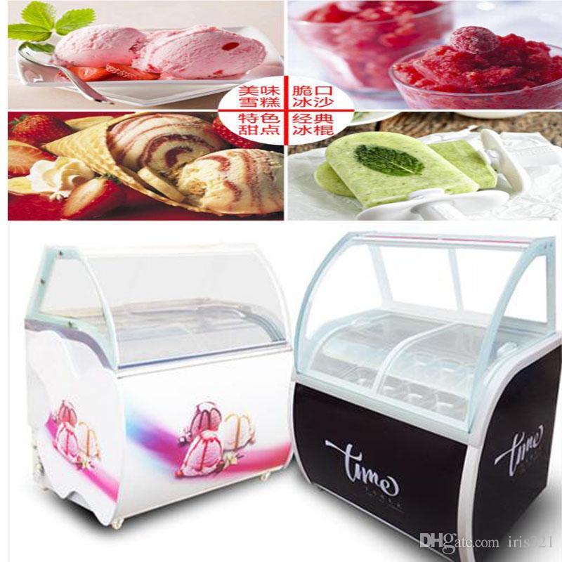 La venta de helados de vidrio congelador de alimentos de vidrio manual de helado escaparate 12 barriles redondos o14 barriles cuadrados de helado de gabinete de exhibición