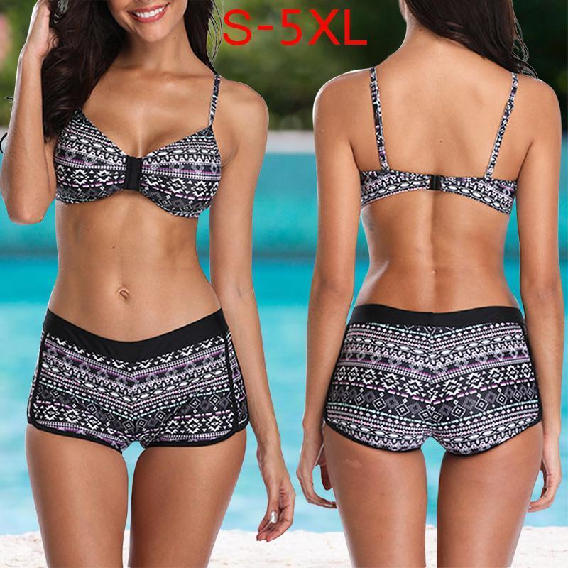 Set di bikini per pantaloncini da donna con stampa sexy HobbyLane per nuoto in piscina da spiaggia
