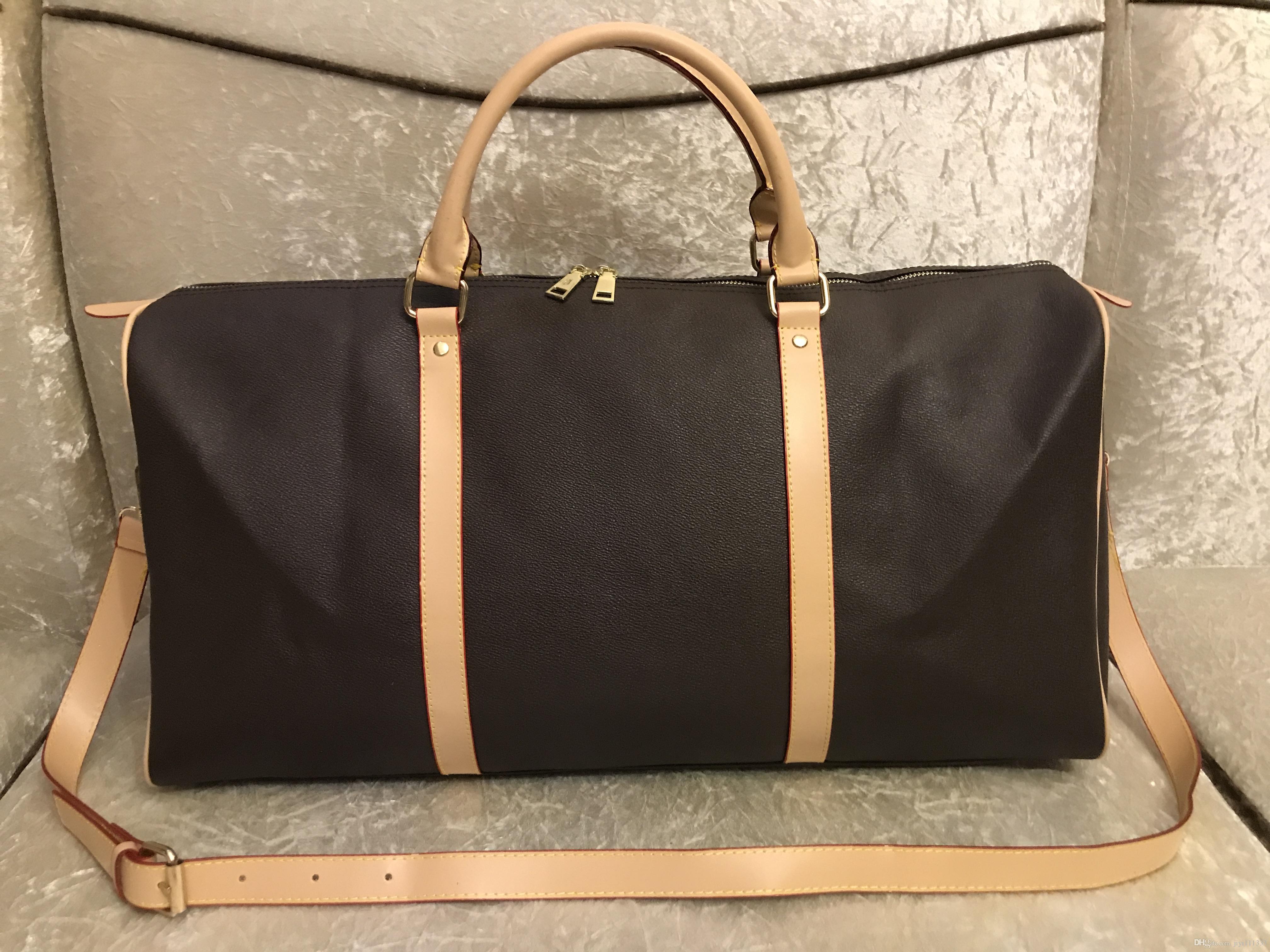 2019 الرجال واق من المطر حقيبة للمرأة السفر وحقائب اليد الأمتعة حقيبة فاخرة تصميم سفر الرجال بو الجلود حقائب كبيرة عبر الجسم حقيبة اليد 55CM