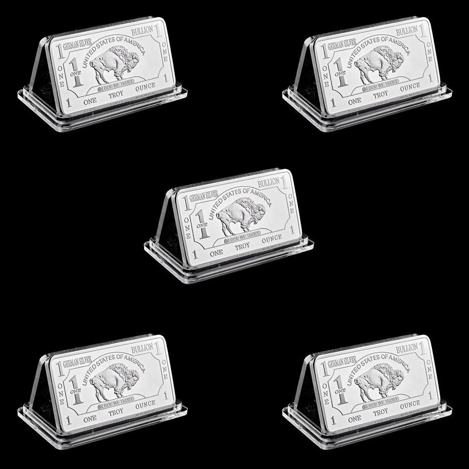 5pcs Free Shipping Wholesale 1 Troy Ounce German Buffalo Silver Bullion Bar Coins German Sliver 999 American Buffalo Bar