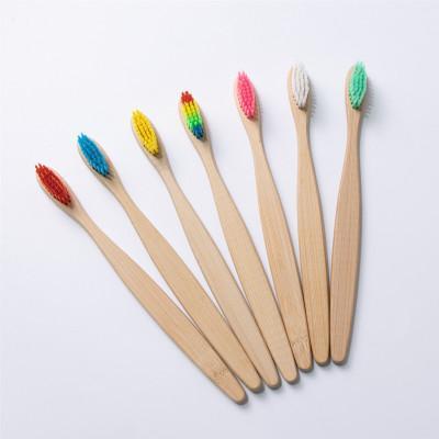 Poignée en bambou naturel Brosse à dents arc-en-coloré blanchissant doux Soies bambou Brosse à dents écologique Oral Care EEA1177