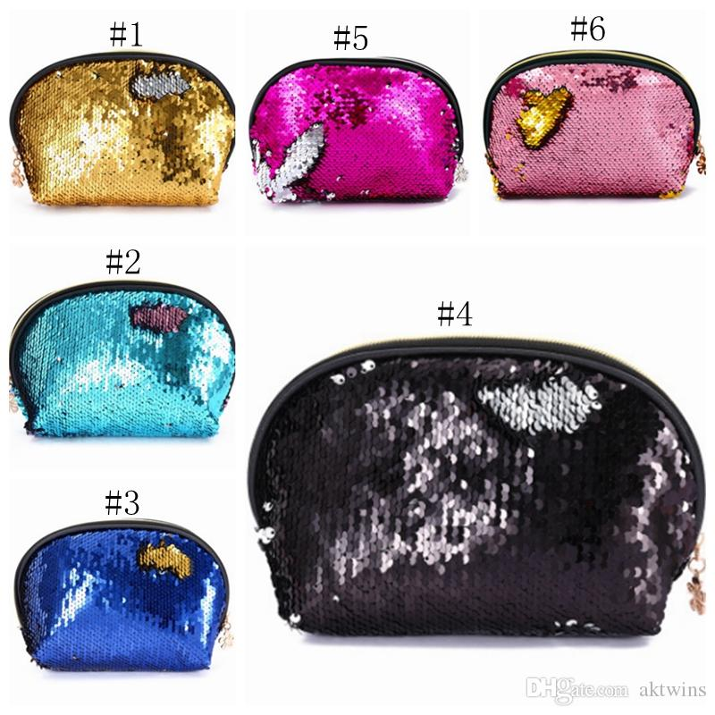 Sequin Cosmetic Bags Mermaid Sequins Makeup Bag Girl Evening Bag Lady Wedding Clutch Bag Travel Makeup Organizer 6 Colors 50pcs YW1073