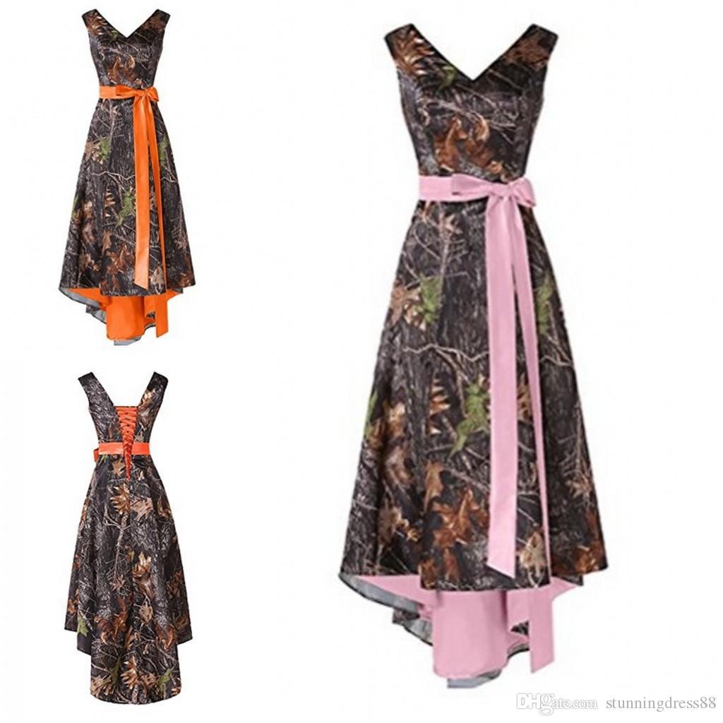 Camo hi lo Cheap Bridesmaid Dresses 2021 V neck Ribbon Bows Orange Pink Inner Satin Wedding Guest Prom Formal party Dress Wholesale Price
