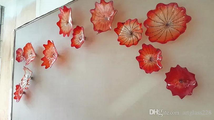 Decoración Arte Moderno OEM Boca colgante de cristal placas Dale Chihully Estilo soplado a mano de cristal pared del arte