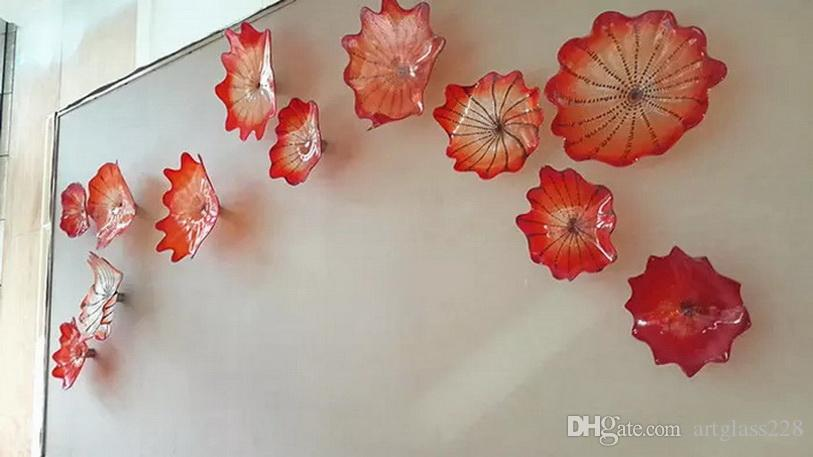 Modern Art Decoration OEM Mouth Glass Hanging Plates Dale Chihully Style Hand Blown Glass Wall Art