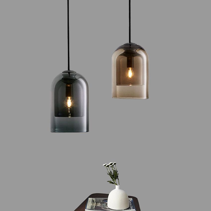 레스토랑 카페 이닝 룸을위한 북유럽 유리 펜던트 조명 현대 간단한 회색 황색 더블 레이어 그늘 정지 매달려 램프