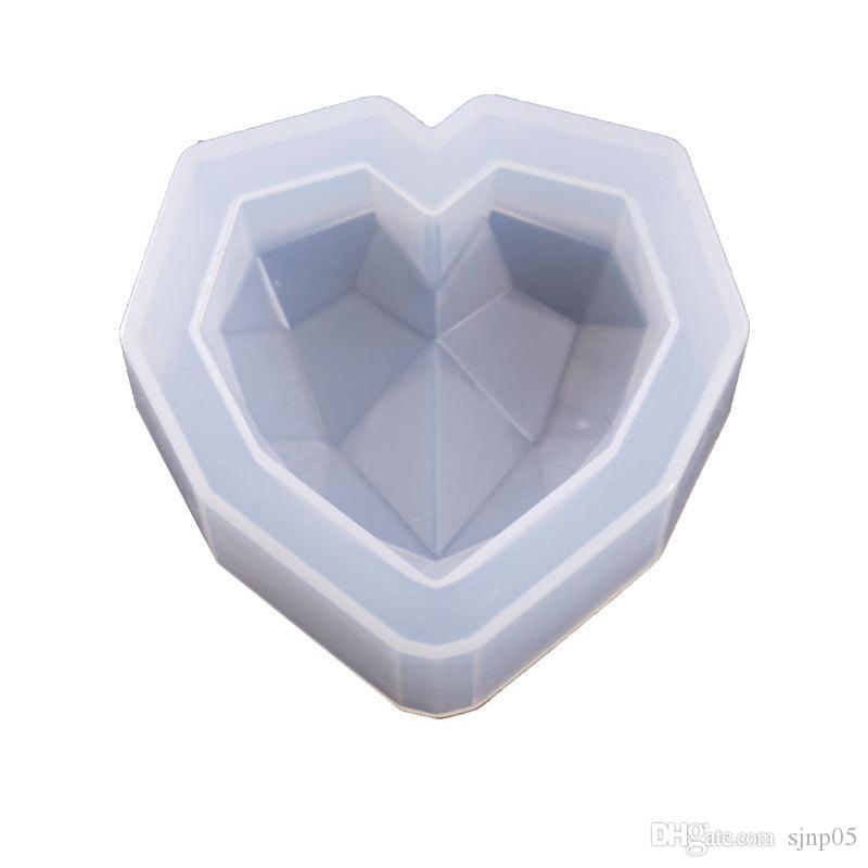 Diamante cuore sapone stampo candela stampo in silicone flessibile stampi torta biscotti cioccolato fai da te decor 3 dimensioni