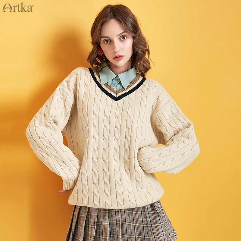 ARTKA 2019 Winter New Women Sweater Fashion College Style Thick Knitted Sweaters O-Neck Pullover Loose V-Neck Sweater Y010096D
