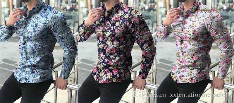 Mens Designer Langarm Shirts Casual Hot Style Umlegekragen Blumendruck Shirts Designer Fashion Mens Apparel