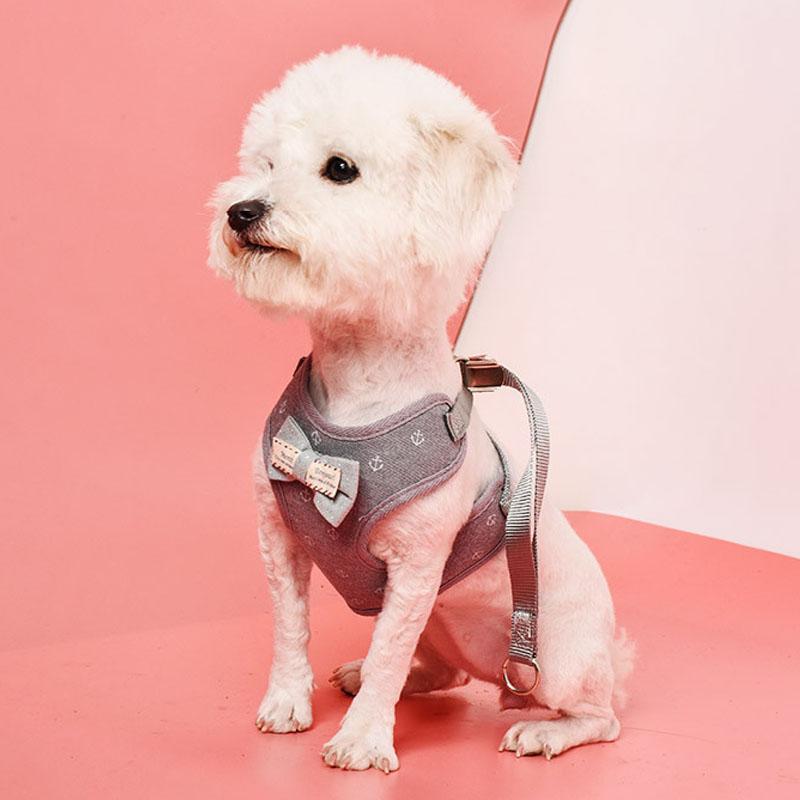 Жилет Стиль кота собаки Поводок Harness Лук Белл дышащая сетка ткань Собаки Pet Lead поводок щенка Printed Регулируемая Pet Vest Harness VT1539