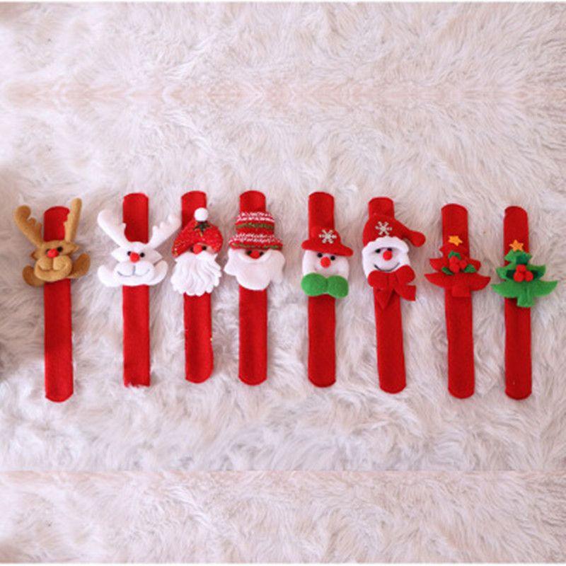 Рождественские шлепки Браслеты Рождественский подарок Снеговик Игрушки пощечина круг Браслет Дед Мороз Браслет Рождественские украшения Украшения