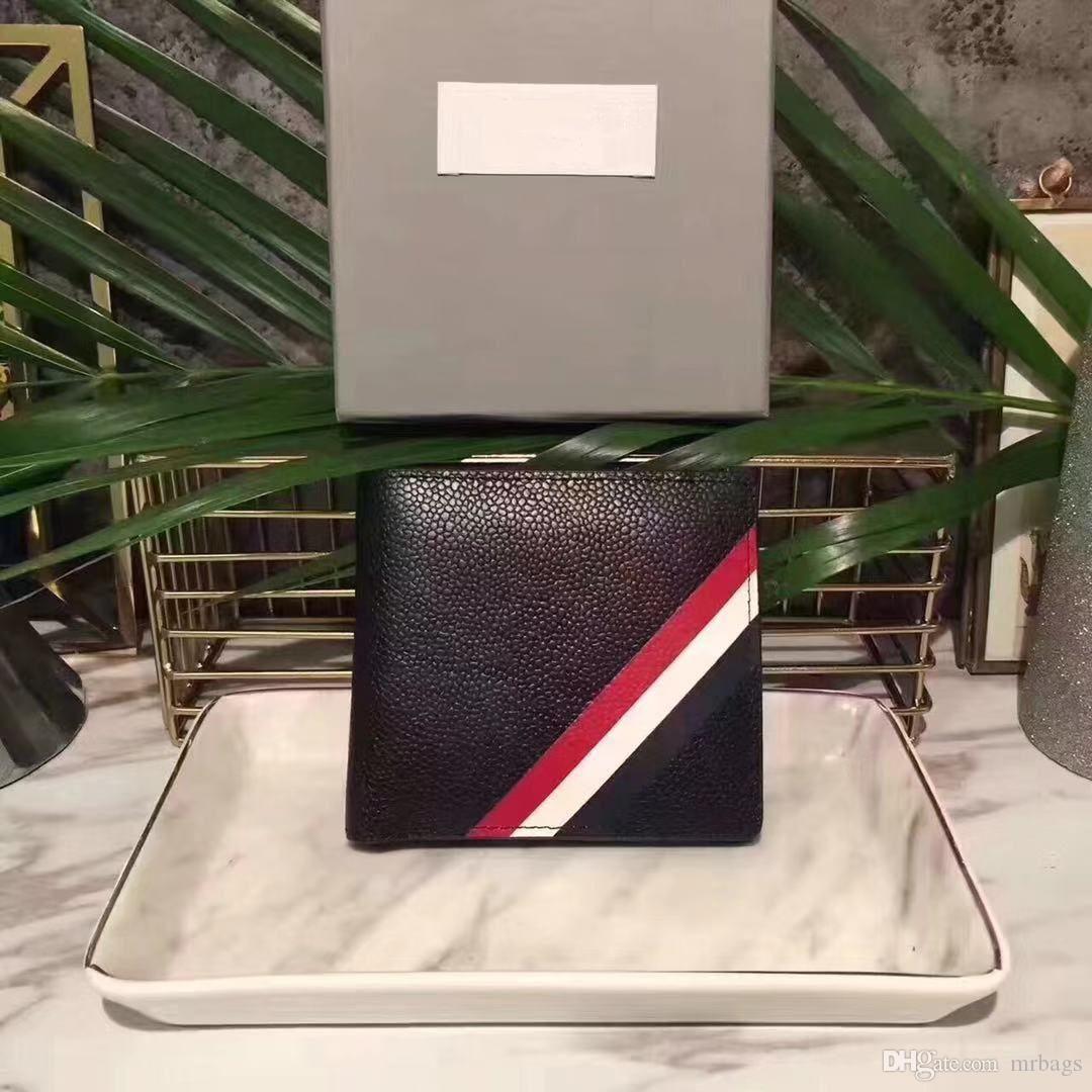 Carteira Designer curtos americano Carteira Tendências de Moda de couro dos homens clássico Hot Stripe Embossing Cartão de Crédito Local