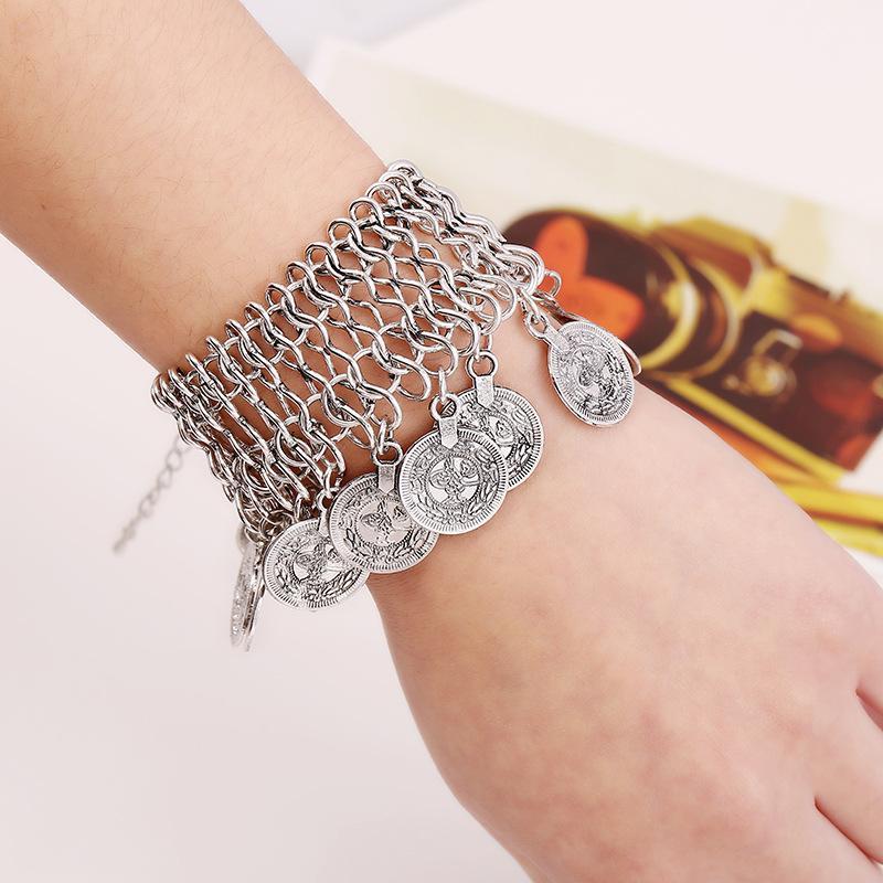 Цыганские Резные Древние серебряные монеты кисточкой браслет для женщин Boho Этнические Charms Племенной фестиваль турецкого Wrap ювелирные изделия