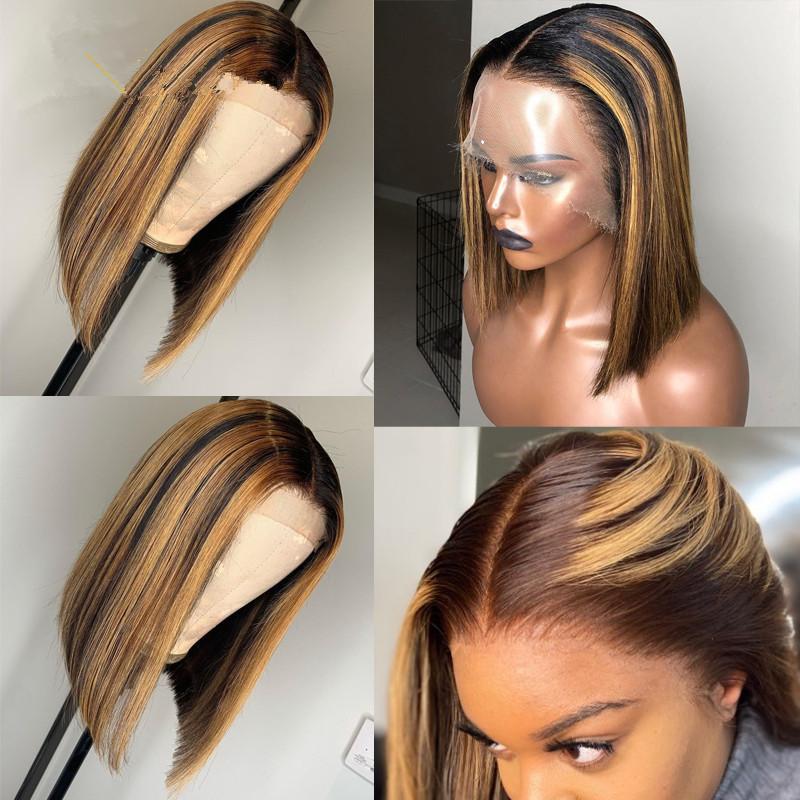13x6 resaltar peluca Ombre marrón miel Rubio corto Bob peluca transparente HD peluca frontal de encaje de color 150% 360 Frontal pelucas de cabello humano