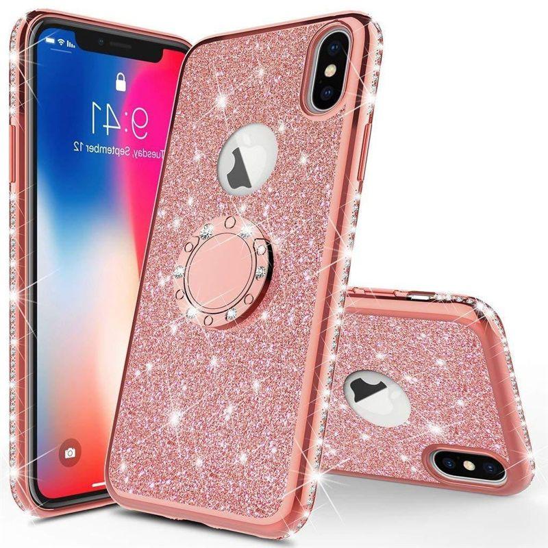Glitter iPhone için Kılıf x 11 Pro Max lüks telefon cep telefonu aksesuarları pembe elmas Kılıf TPU flaş tozu Akrilik kapak ile standı