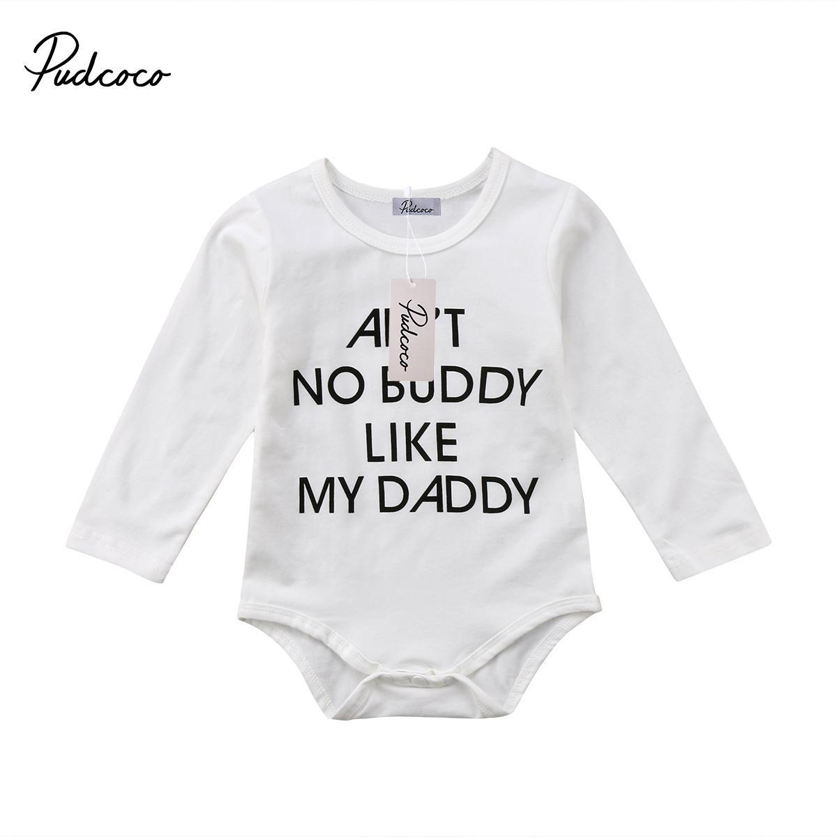 Pudcoco новорожденных мальчиков одежда хлопок с длинным рукавом O-образным вырезом боди наряды 0-24 месяцев Helen115