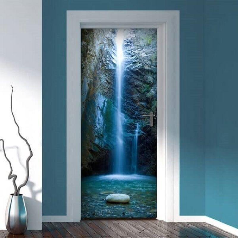 Free shipping DIY Door Sticker Cave Waterfall door decals decorations for Bedroom Living Room wallpapers Decal home accessories