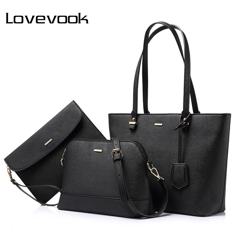 LOVEVOOK çanta kadın omuz çantaları tasarımcı crossbody çantası kadın büyük çantası set lüks çanta ve debriyaj 2019 Y191023
