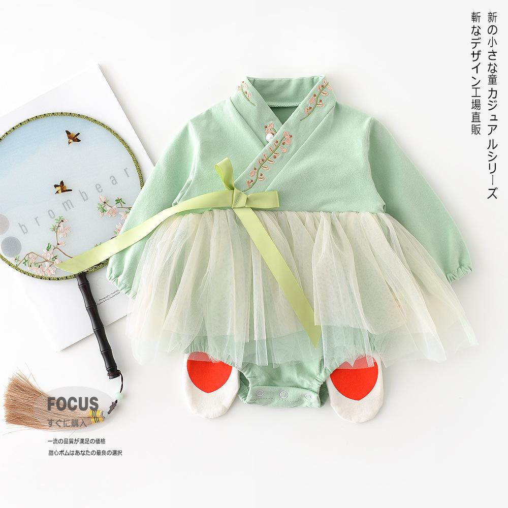 봄 모델 중국어 의류 한국어 여성 아기 십자가 목에 수 놓은 꽃 메쉬 삼각형 영유아 올드 패션 가방 방귀를 등반