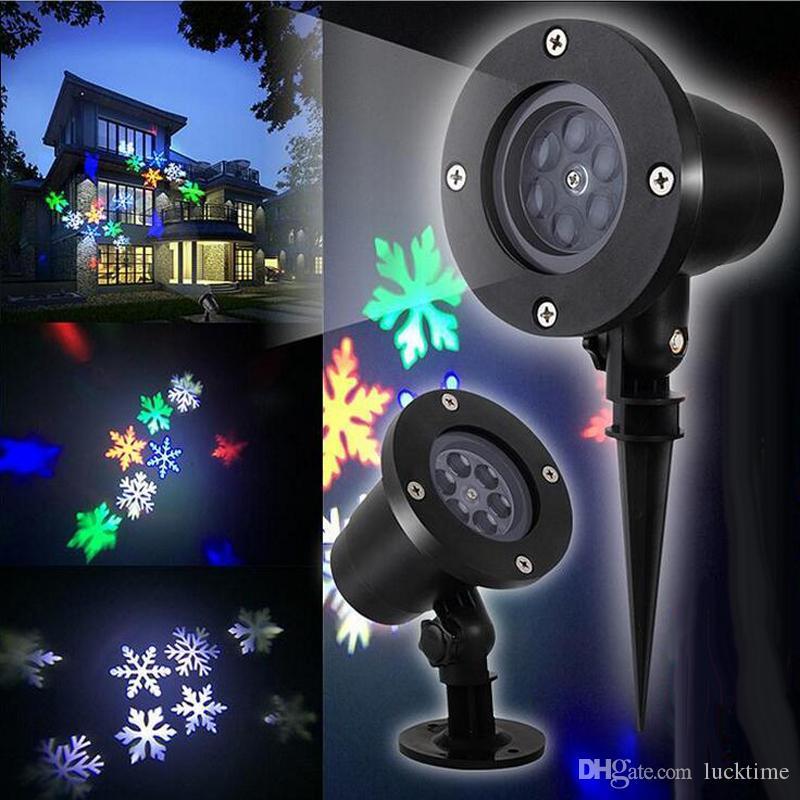 2 en 1 lámparas de césped luz láser del copo de nieve Proyector de exterior LED impermeable de la parte actora la nieve del copo de nieve Inicio decoración del jardín de la luz de la nieve