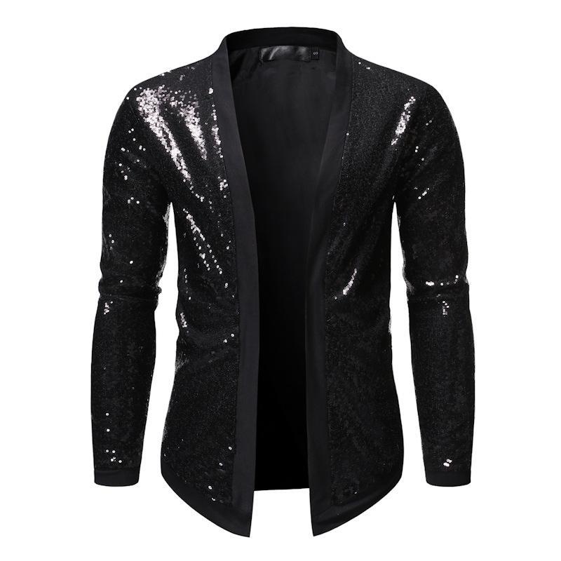 Negro brillante de las lentejuelas juego de la chaqueta de los hombres de DJ del club nocturno chaqueta para hombre chaqueta informal cantantes Delgado etapa del partido Fit Cardigan vestuario Homme