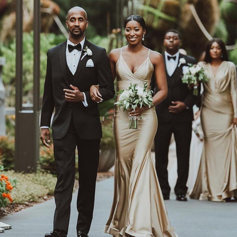 Sul-africano Nigéria Meninas Sereia Vestidos de Dama de Honra para Casamentos 2019 Gold Styles Misturos Plisses Ruffles Long Wedding Guest Dress