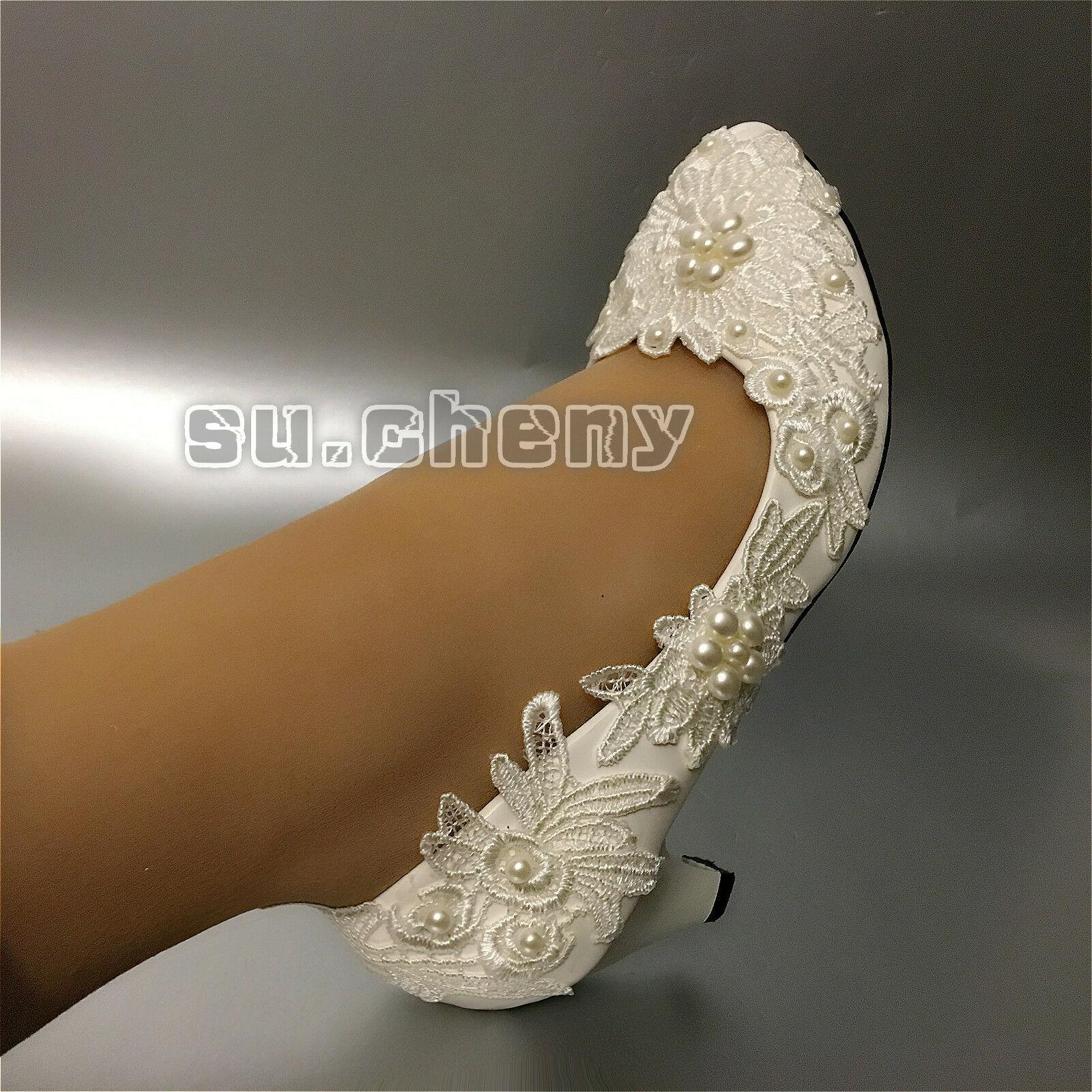 """su.cheny 2/"""" 3/"""" wedge heels White lace pearls pumps Wedding Bridal shoes size"""