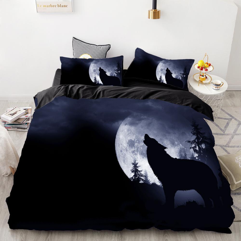 3D печать Bedding Set Custom, Cover Одеяло Set King / Европа / США, Утешитель / Одеяло / Одеяло Обложка, Animal Moonlight волчьи постельного белья