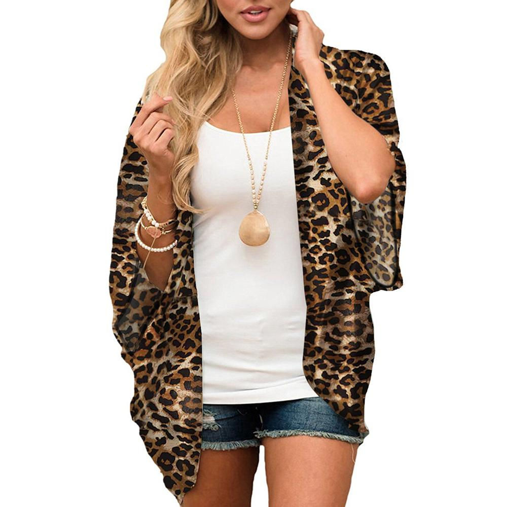 Women Leopard Print Short Kimono Jacket Cardigan Tops Shawl Cover Up Swimsuit