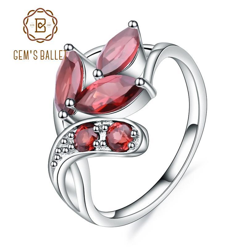 Gem's Ballet 2.38ct Marquise Naturel Rouge Grenat Pierres Précieuses Anneau 925 Argent Sterling Feuille Forme Anneaux Pour Les Femmes Fine Jewelry J 190430