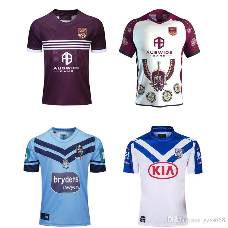 2019 QUEENSLAND MAROONS HOME JERSEY DE RUGBY NSW BLUES HOME JERSEY PRO BULLDOGS JERSEY Taille S-3XL Top qualité Livraison gratuite