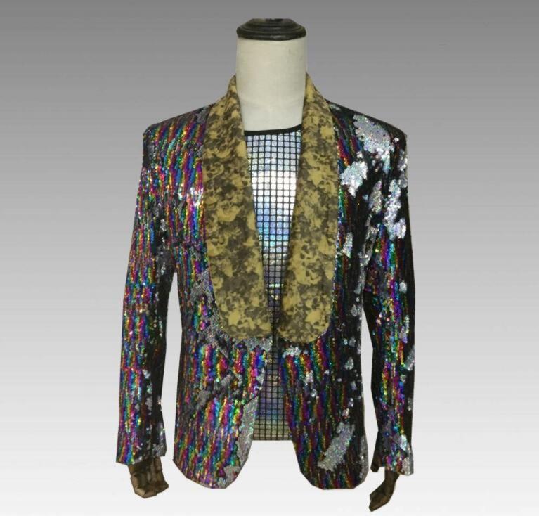 Spike Color gradient sequins blazer men suits designs jacket mens stage costumes for singers clothes dance star style dress punk rock 8782