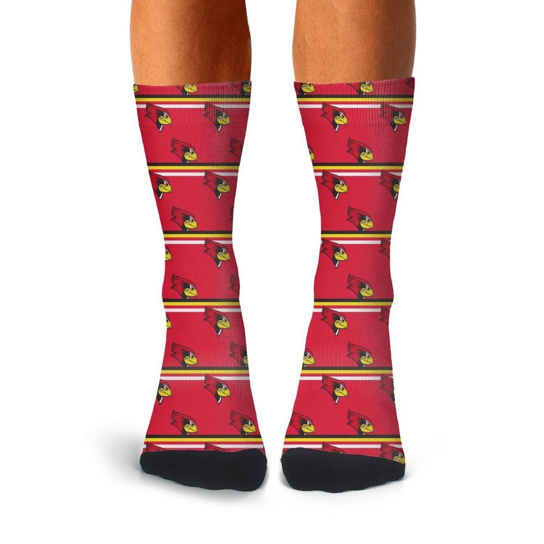 남자 일리노이 주 redbirds 야구 빨간색 승무원 양말면 디자인 얇은 높은 발목 압축 재미 검정, 회색 일리노이 주 Redbirds