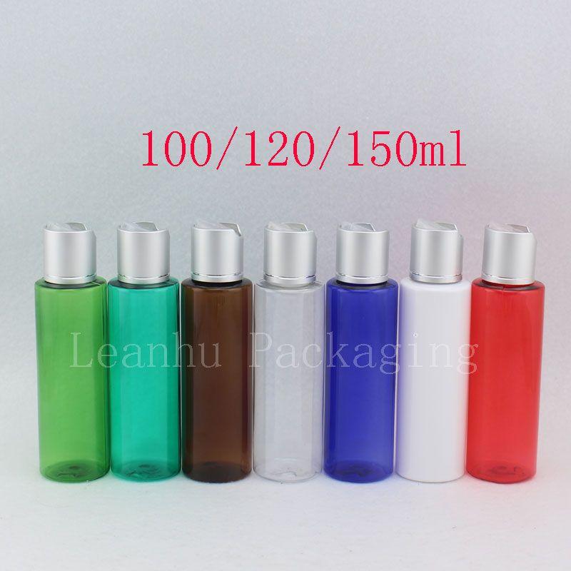 100ML 120ML 150ML فارغة زجاجات غسول البلاستيك الألومنيوم الفضة القرص الأعلى كاب الصابون السائل حجم سفر DIY شامبو الحاويات SPA